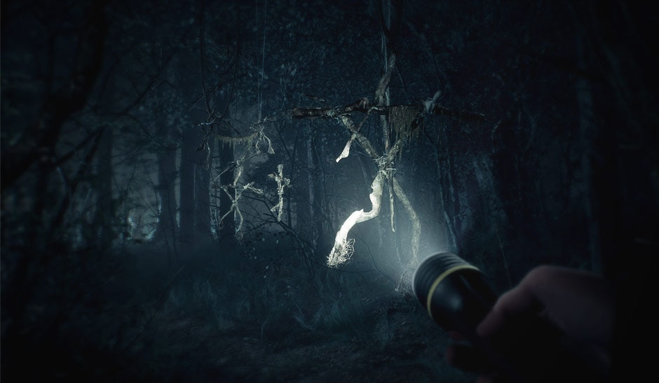 A dark and creepy forest surrounds you as your flashlight illuminates a series of stick men hanging from the creepy trees.