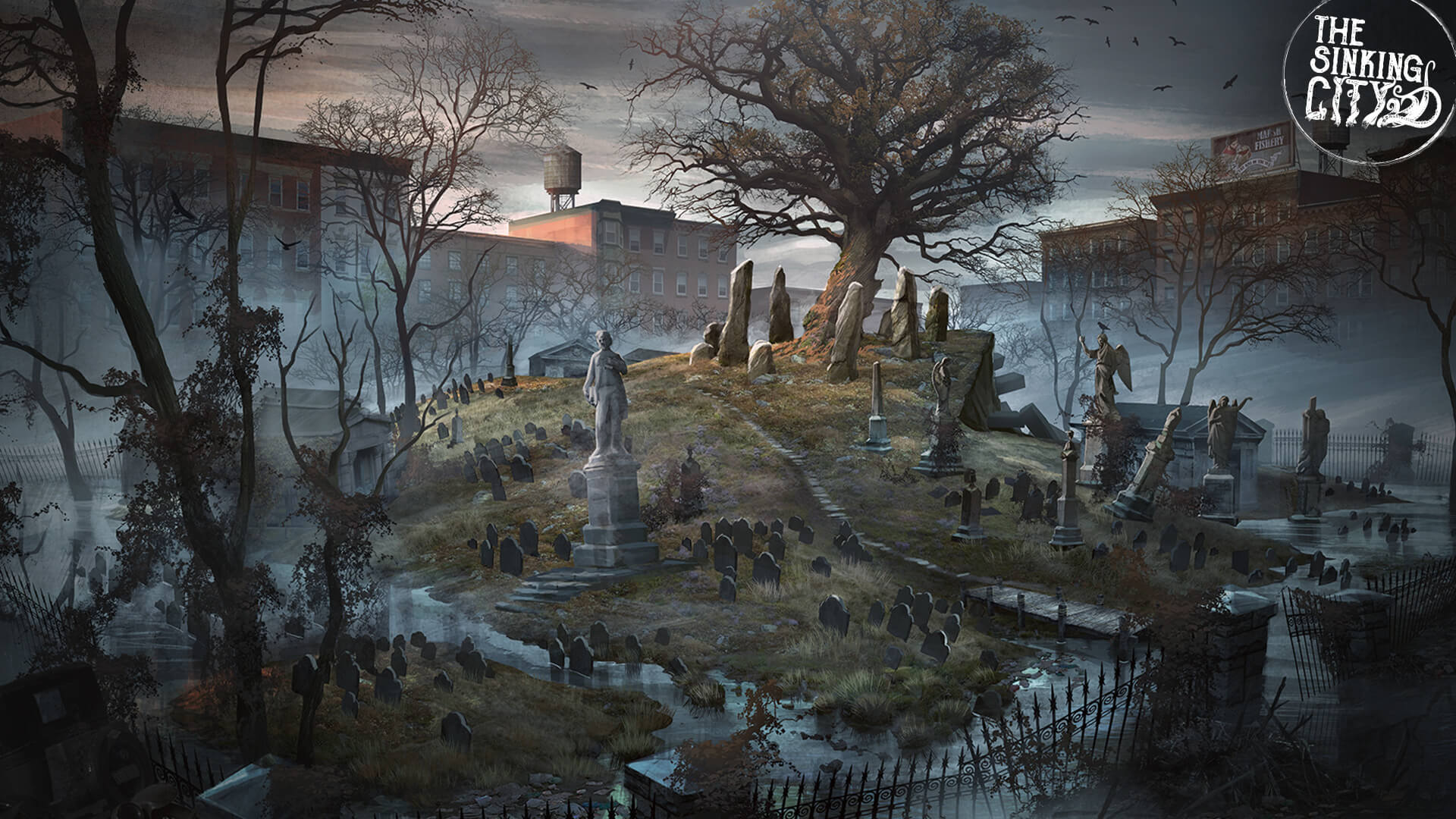 The Sinking City Concept Art of a graveyard leading up to a hill top in the middle of some surrounding buildings. At the top of the hill is a old twisted tree surrounded in a circle by giant narrow stones.