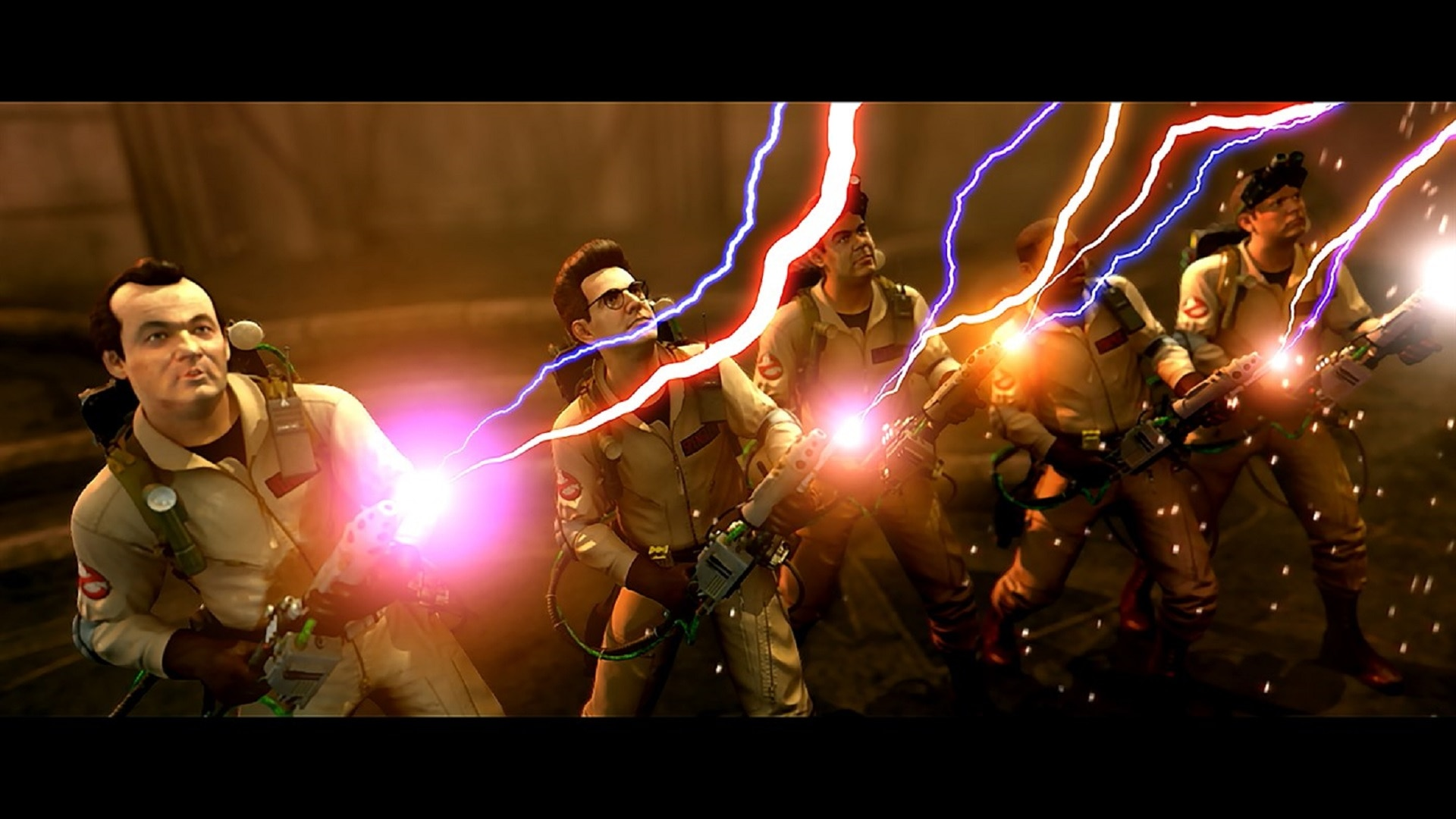 Ghostbusters Video Game - five ghostsbusters firing proton beams