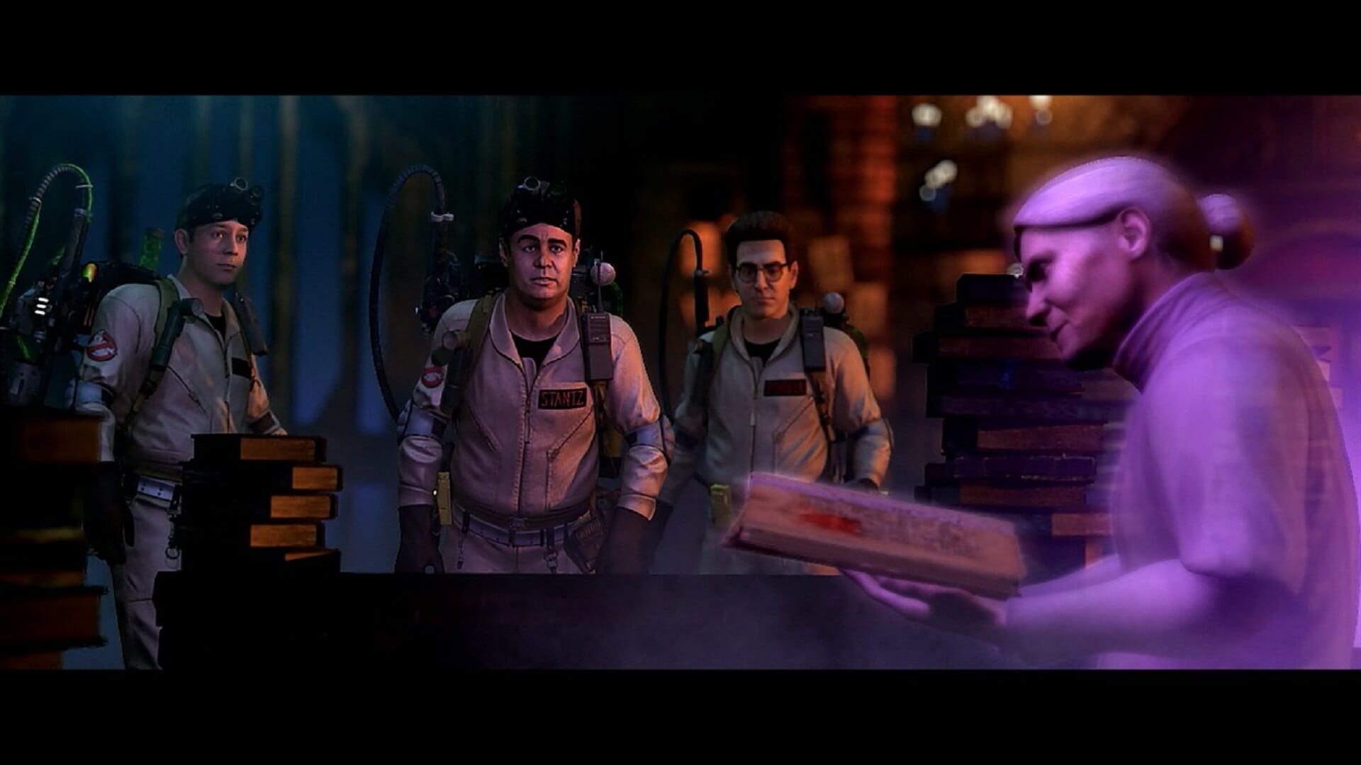 Ghostbusters Video Game - A ghostly old woman walks by three shocked ghostbusters. She is holding a pizza.